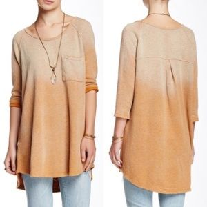 Free People Ombre Orange Distressed Sweater
